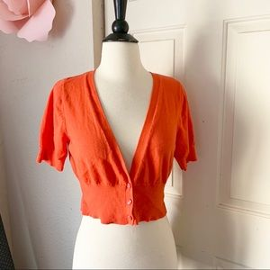 Mossimo Orange Button Cardigan Large